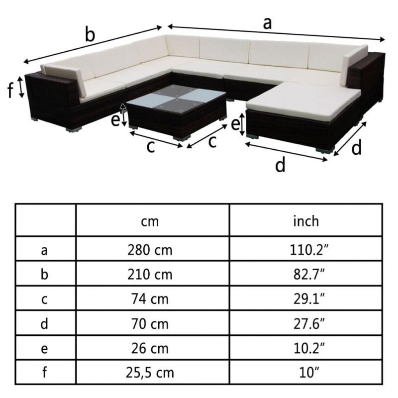 89f2df063782 vidaXL VX41260 Set muebles de jardín 8 piezas y cojines ratán ...