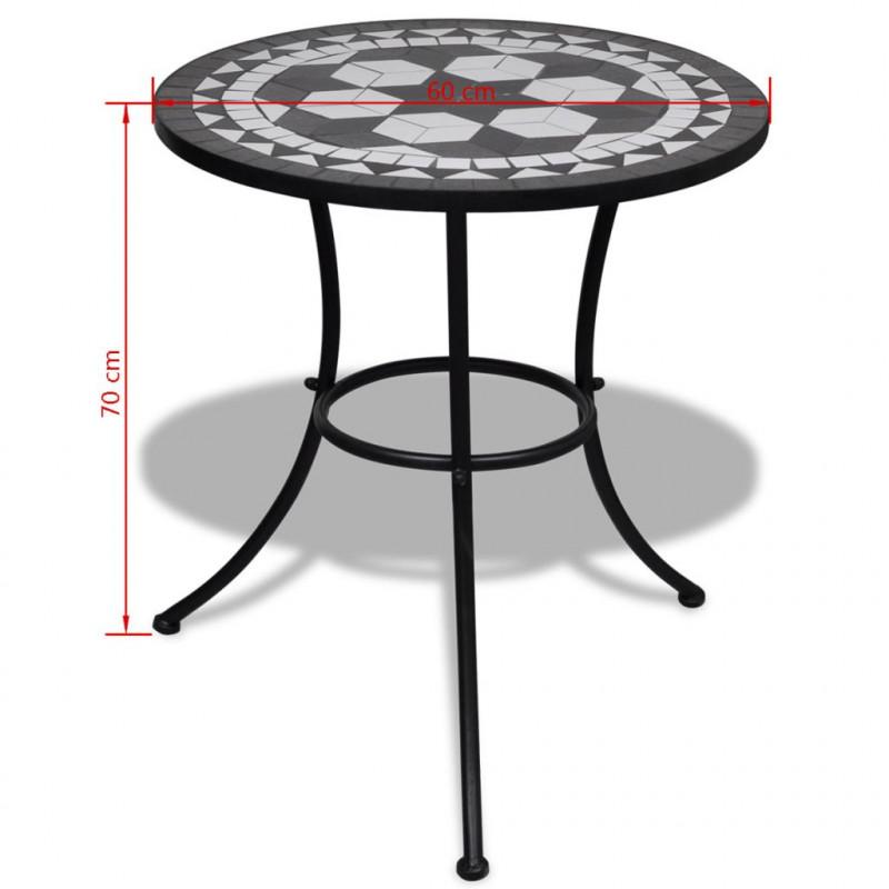 VidaXL Meubles de jardin Table mosaïque noire / blanche