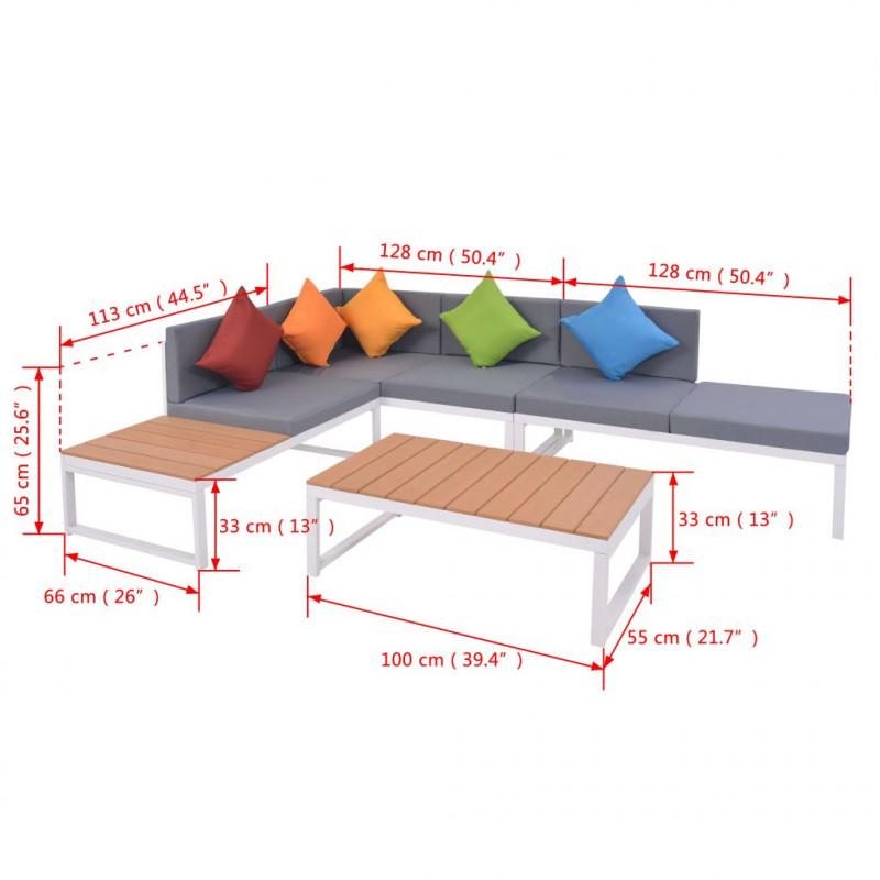 VidaXL Meubles de jardin Mobilier de jardin 4 pcs avec coussins Aluminium  et WPC