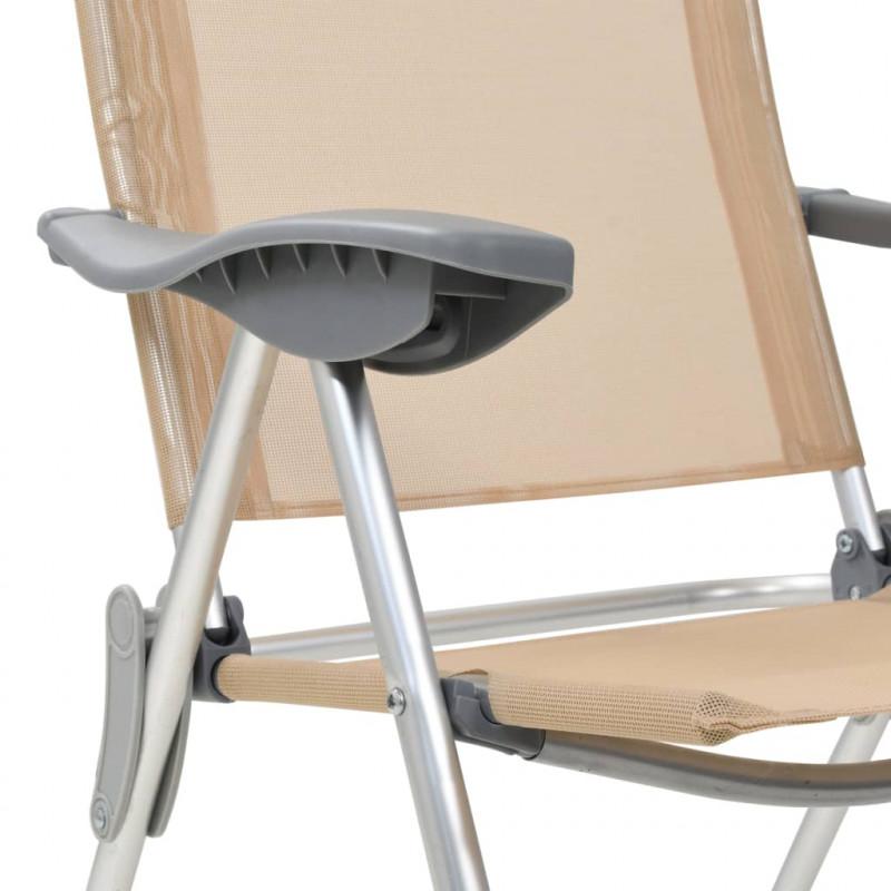 2 plein de pliables air VidaXL Loisirs Crème Aluminium Chaises pcs de camping mvNwO80n