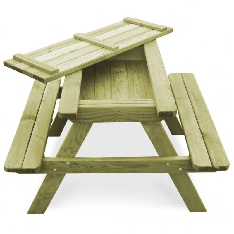 VidaXL Meubles de jardin Table de pique-nique avec bancs Bois de pin  imprégné FSC