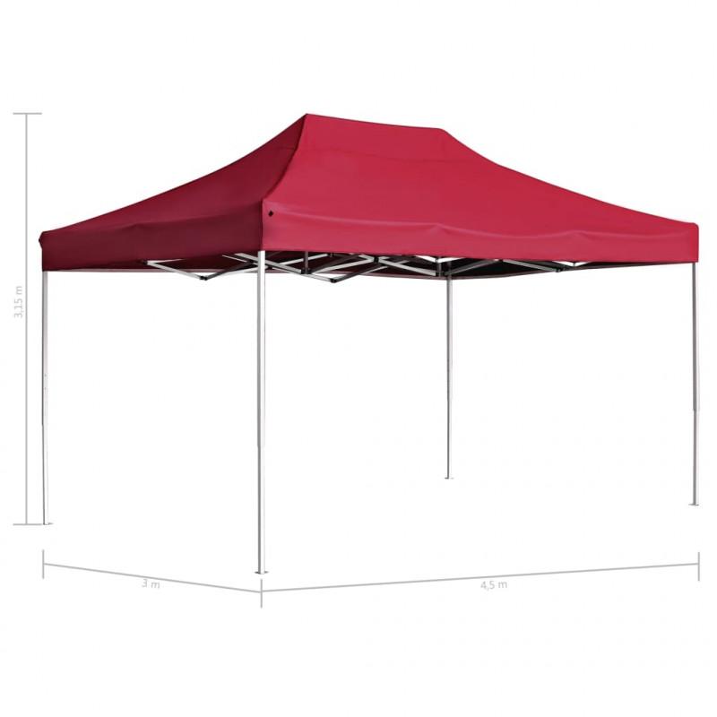 vidaXL Jardín Carpa plegable profesional de aluminio rojo vino tinto 4,5x3m