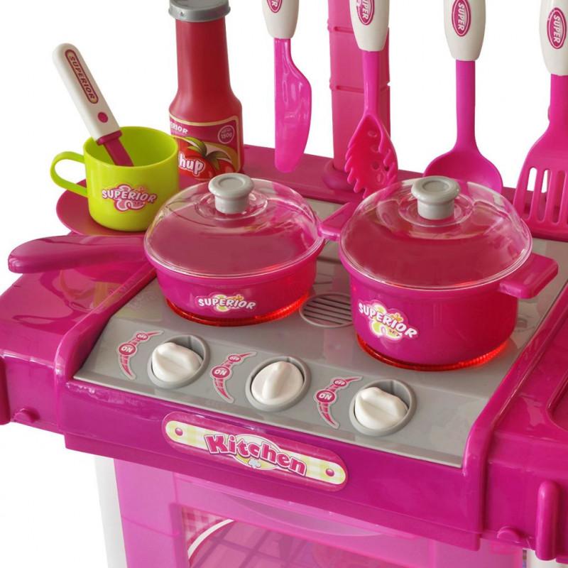 VidaXL Bambini & Famiglia Cucina Giocattolo per Bambini con Effetti LuceSuoni Rosa