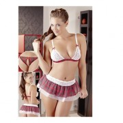 Cottelli Collection Intimo 3 Pezzi Reggiseno, Perizoma e Gonna Scozzese Fantasia L