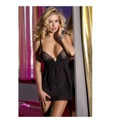 Baby Doll con Brillante Incrocio Seni Nero Unica